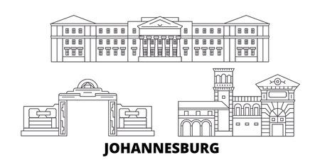 South Africa, Johannesburg line travel skyline set. South Africa, Johannesburg outline city vector panorama, illustration, travel sights, landmarks, streets.