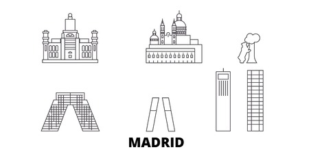 Spain, Madrid City line travel skyline set. Spain, Madrid City outline city vector panorama, illustration, travel sights, landmarks, streets. Illustration