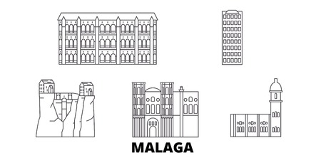 Spain, Malaga line travel skyline set. Spain, Malaga outline city vector panorama, illustration, travel sights, landmarks, streets.