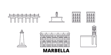 Spain, Marbella line travel skyline set. Spain, Marbella outline city vector panorama, illustration, travel sights, landmarks, streets. Illustration