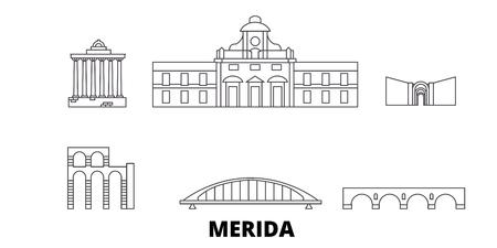 L'Espagne, l'ensemble d'horizon de voyage en ligne Merida. Espagne, Merida contour vectoriel panorama de la ville, illustration, sites touristiques, monuments, rues. Vecteurs