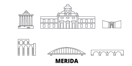 Spain, Merida line travel skyline set. Spain, Merida outline city vector panorama, illustration, travel sights, landmarks, streets. Иллюстрация