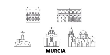 Spain, Murcia line travel skyline set. Spain, Murcia outline city vector panorama, illustration, travel sights, landmarks, streets.