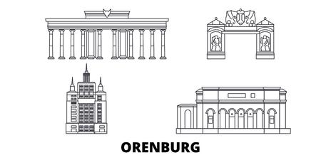 Russia, Orenburg line travel skyline set. Russia, Orenburg outline city vector panorama, illustration, travel sights, landmarks, streets. 일러스트