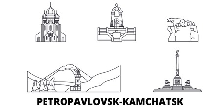 Russia, Petropavlovsk Kamchatsk line travel skyline set. Russia, Petropavlovsk Kamchatsk outline city vector panorama, illustration, travel sights, landmarks, streets. Фото со стока - 120650196