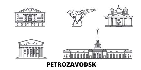 Russia, Petrozavodsk line travel skyline set. Russia, Petrozavodsk outline city vector panorama, illustration, travel sights, landmarks, streets.