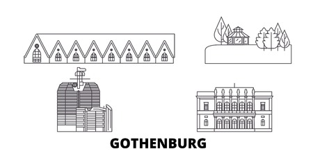 Sweden, Gothenburg line travel skyline set. Sweden, Gothenburg outline city vector panorama, illustration, travel sights, landmarks, streets.