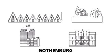 Sweden, Gothenburg line travel skyline set. Sweden, Gothenburg outline city vector panorama, illustration, travel sights, landmarks, streets. Archivio Fotografico - 123897141