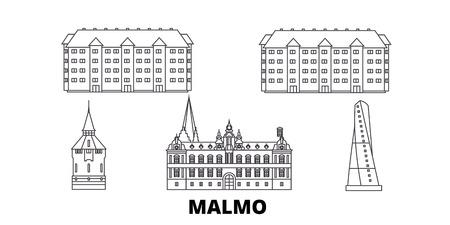 Sweden, Malmo line travel skyline set. Sweden, Malmo outline city vector panorama, illustration, travel sights, landmarks, streets.