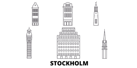 Sweden, Stockholm line travel skyline set. Sweden, Stockholm outline city vector panorama, illustration, travel sights, landmarks, streets. Ilustração