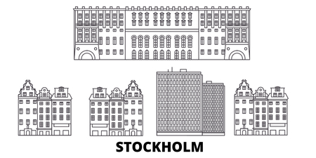 Sweden, Stockholm City line travel skyline set. Sweden, Stockholm City outline city vector panorama, illustration, travel sights, landmarks, streets.