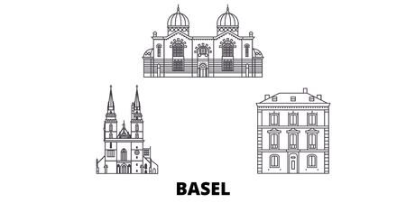 Switzerland, Basel  line travel skyline set. Switzerland, Basel  outline city vector panorama, illustration, travel sights, landmarks, streets. Illusztráció