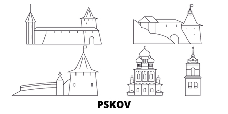 Russia, Pskov line travel skyline set. Russia, Pskov outline city vector panorama, illustration, travel sights, landmarks, streets.