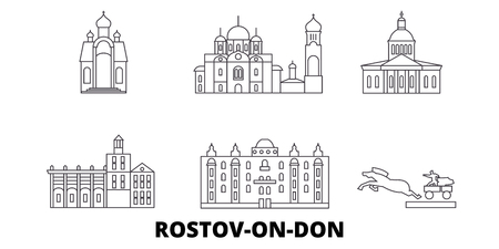 Russia, Rostov On Don line travel skyline set. Russia, Rostov On Don outline city vector panorama, illustration, travel sights, landmarks, streets.