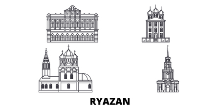 Russia, Ryazan line travel skyline set. Russia, Ryazan outline city vector panorama, illustration, travel sights, landmarks, streets.