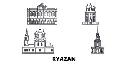 Russland, Ryazan Linie Reisen Skyline Set. Russland, Ryazan skizzieren Stadtvektorpanorama, Illustration, Reiseanblicke, Sehenswürdigkeiten, Straßen. Vektorgrafik