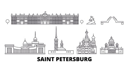 Russia, Saint Petersburg line travel skyline set. Russia, Saint Petersburg outline city vector panorama, illustration, travel sights, landmarks, streets.