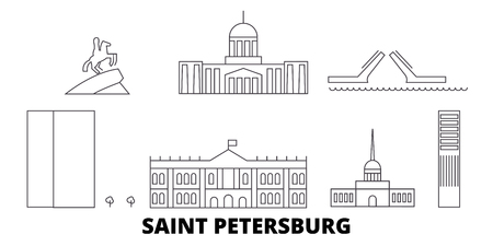 Russia, Saint Petersburg City line travel skyline set. Russia, Saint Petersburg City outline city vector panorama, illustration, travel sights, landmarks, streets.