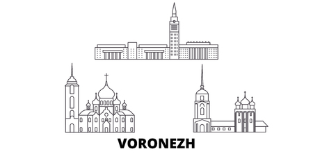 Russia, Voronezh line travel skyline set. Russia, Voronezh outline city vector panorama, illustration, travel sights, landmarks, streets. Illustration