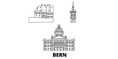 Schweiz, Berner Linie Reise-Skyline-Set. Schweiz, Bern skizzieren Stadtvektorpanorama, Illustration, Reisesehenswürdigkeiten, Sehenswürdigkeiten, Straßen.
