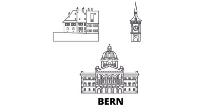 Switzerland, Bern line travel skyline set. Switzerland, Bern outline city vector panorama, illustration, travel sights, landmarks, streets.
