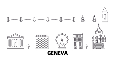 Switzerland, Geneva line travel skyline set. Switzerland, Geneva outline city vector panorama, illustration, travel sights, landmarks, streets. 向量圖像