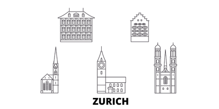 Switzerland, Zurich line travel skyline set. Switzerland, Zurich outline city vector panorama, illustration, travel sights, landmarks, streets. 写真素材 - 120653841