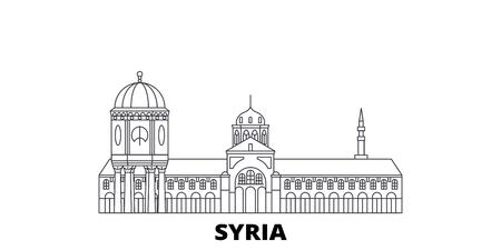 Conjunto de horizonte de viaje de línea de Siria. Siria esquema panorama vectorial de la ciudad, ilustración, lugares turísticos, monumentos, calles.