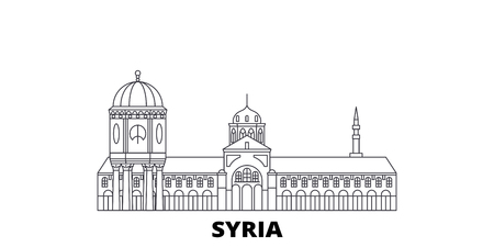 Syria line travel skyline set. Syria outline city vector panorama, illustration, travel sights, landmarks, streets. Ilustração