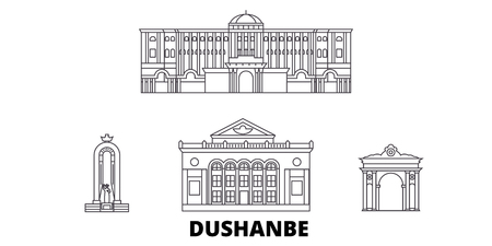Tadjikistan, Dushanbe line travel skyline set. Tadjikistan, Dushanbe outline city vector panorama, illustration, travel sights, landmarks, streets.