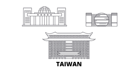 Taiwan, New Taipei City line travel skyline set. Taiwan, New Taipei City outline city vector panorama, illustration, travel sights, landmarks, streets.