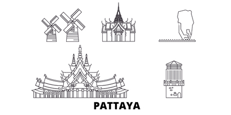 Thailand, Pattaya line travel skyline set. Thailand, Pattaya outline city vector panorama, illustration, travel sights, landmarks, streets. Фото со стока - 120653845
