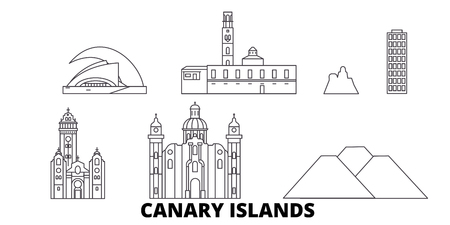 Spain, Canary Islands line travel skyline set. Spain, Canary Islands outline city vector panorama, illustration, travel sights, landmarks, streets. Stock Vector - 123897146