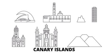 Spain, Canary Islands line travel skyline set. Spain, Canary Islands outline city vector panorama, illustration, travel sights, landmarks, streets.