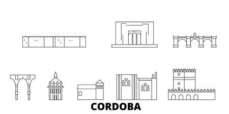 Spanje, Cordoba lijn reizen skyline set. Spanje, Cordoba overzicht stad vector panorama, illustratie, reizen bezienswaardigheden, monumenten, straten.