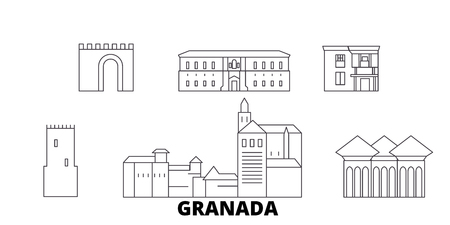 Spain, Granada line travel skyline set. Spain, Granada outline city vector panorama, illustration, travel sights, landmarks, streets. Banque d'images - 120653847