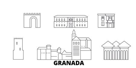 Spain, Granada line travel skyline set. Spain, Granada outline city vector panorama, illustration, travel sights, landmarks, streets.