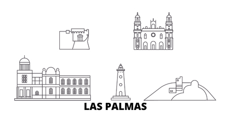Spain, Las Palmas line travel skyline set. Spain, Las Palmas outline city vector panorama, illustration, travel sights, landmarks, streets.