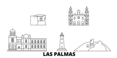 Spain, Las Palmas line travel skyline set. Spain, Las Palmas outline city vector panorama, illustration, travel sights, landmarks, streets. Stock Vector - 123897147