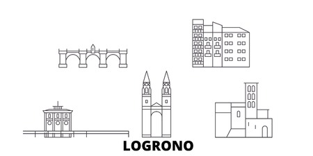 Spain, Logrono line travel skyline set. Spain, Logrono outline city vector panorama, illustration, travel sights, landmarks, streets. Stock Vector - 120653848