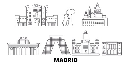 Spain, Madrid line travel skyline set. Spain, Madrid outline city vector panorama, illustration, travel sights, landmarks, streets.