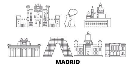 Spain, Madrid line travel skyline set. Spain, Madrid outline city vector panorama, illustration, travel sights, landmarks, streets.