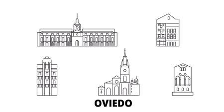 Spain, Oviedo line travel skyline set. Spain, Oviedo outline city vector panorama, illustration, travel sights, landmarks, streets.