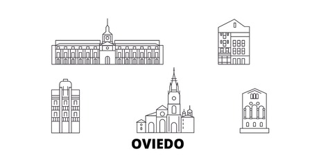 Spain, Oviedo line travel skyline set. Spain, Oviedo outline city vector panorama, illustration, travel sights, landmarks, streets.