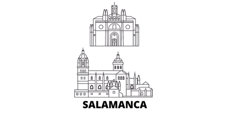 Spain, Salamanca line travel skyline set. Spain, Salamanca outline city vector panorama, illustration, travel sights, landmarks, streets.