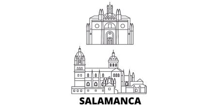 Spain, Salamanca line travel skyline set. Spain, Salamanca outline city vector panorama, illustration, travel sights, landmarks, streets.