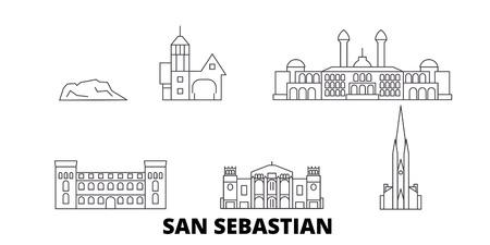 Spanien, San Sebastian Linie Reisen Skyline Set. Spanien, San Sebastian skizzieren Stadtvektorpanorama, Illustration, Reiseanblicke, Sehenswürdigkeiten, Straßen.