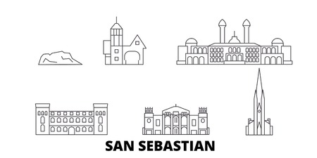 Spain, San Sebastian line travel skyline set. Spain, San Sebastian outline city vector panorama, illustration, travel sights, landmarks, streets.