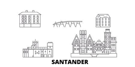 Spain, Santander line travel skyline set. Spain, Santander outline city vector panorama, illustration, travel sights, landmarks, streets.