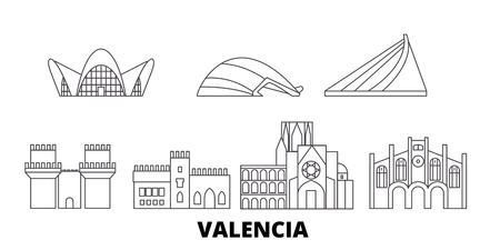 Spain, Valencia line travel skyline set. Spain, Valencia outline city vector panorama, illustration, travel sights, landmarks, streets.